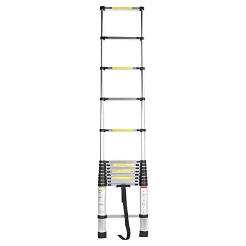 Headerbs Escalera Telescópica De 4,1 M Escalera De Extensión Multiusos Escalera De Aleación De Aluminio para Uso En El Taller del ático De La Oficina En El Hogar