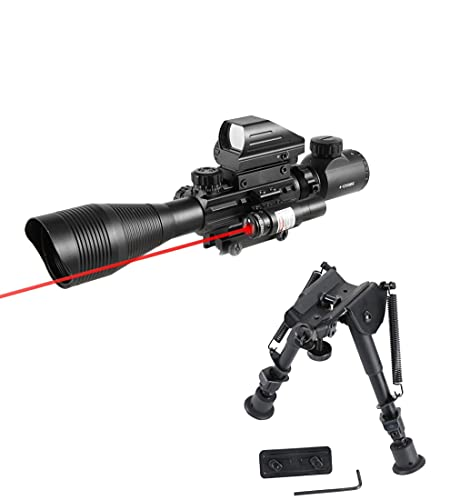 Pinty Rifle Scope 4-12x50EG Rangefinder Mil Dot Tactical Reticle Scope with Laser Sight and Red Dot Sight&Rifle Bipod with 6-9 inch Height Adjustable M-LOK Adapter Aircraft Grade Aluminum Construction