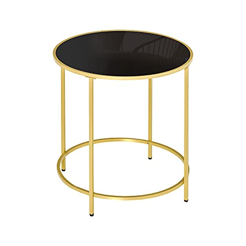 HOMCOM Round Side Table Morden Coffee Tables with Gold Metal Base, Table with Tempered Glass Tabletop, for Living Room, Bedroom, dining room