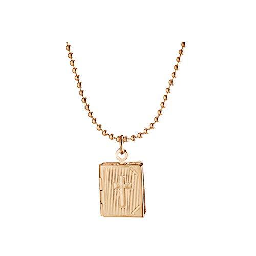 AueDsa Collar de Foto Medallón,Collar Medallón Cruz con Biblia Collares Mujer Medallon Oro Rosa