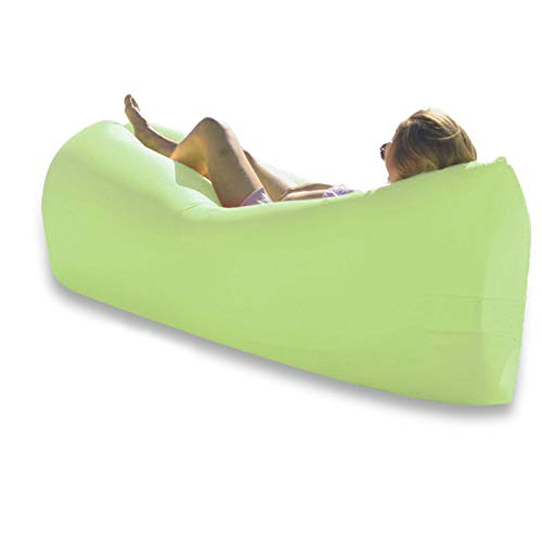 Inflatable Lounger Waterproof Blow Up Couch, Waterproof Portable Anti-Leaking for Camping Hiking PicnicTravelling Comfy Beach Chairs for Adults Hammock Green