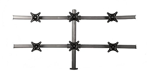 Monmount 6-monitor curved mount clamp-style up to six 24 inches screens, black (curved-h-clamp-b)