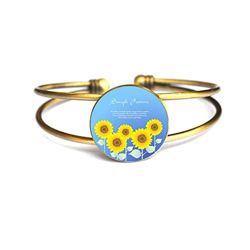 Brazalete de girasol, pulsera de encanto, amuleto de la flor, regalo personalizado, mejor amigo, amante del sol de la flor regalo para la abuela # 164