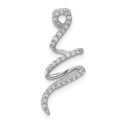 14k White Gold Fancy 1/8ct. Diamond Curved Line Chain Slide (0.125 Ct Diamond)