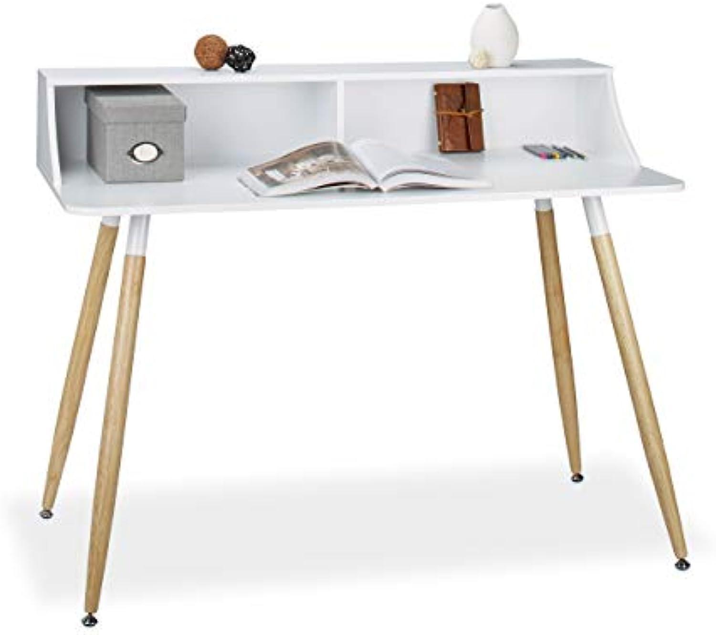 Relaxdays Schreibtisch wei ARVID, Holz, 2 Fcher, Ablage, HxBxT  93 x 120 x 60 cm, Beine natur, Gummi Untersetzer, Weiß