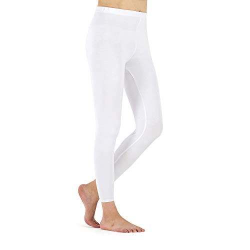 LK LEKUNI Leggings Damen Leggins Lange Viskose Komfortable Schwarz Blickdicht Elastische(Weiß,XL)