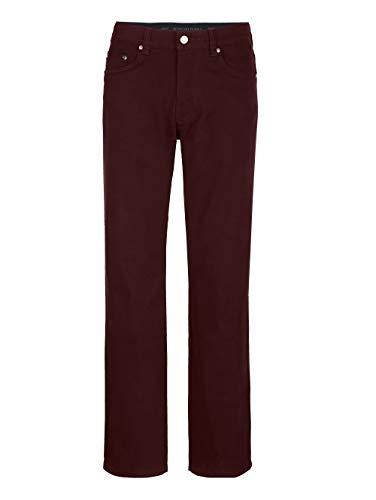 Brühl Herren Regular Fit Lange 5-Pocket Hose in Bordeaux aus Baumwolle