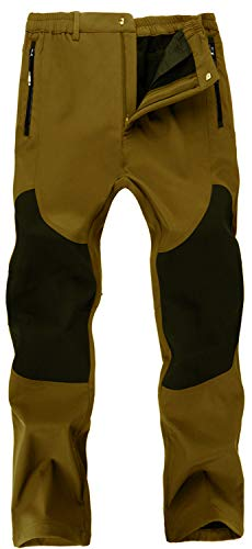Singbring Men's Outdoor Fleece Lined Windproof Waterproof Hiking Snow Ski Pants Large Tan(01F)
