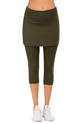 Ekouaer Skirted Leggings for Women Soft Tennis Capri Skirt Running Athletic Workout Leggings Army Green