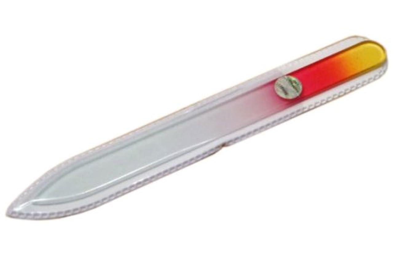 精緻化おんどりパキスタンブラジェク ガラス爪やすり 140mm 片面タイプ(オレンジグラデーション #01)