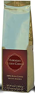Hawaiian Queen Coffee - 100% Kona Coffee - Private Reserve Whole Beans Full City Roast - 1 Lb