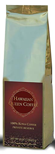 100% Kona Coffee Whole Beans- Private Reserve Whole Beans Full City Roast (16 oz) by Hawaiian Queen Coffee