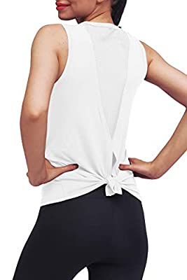 Mippo Workout Clothes for Women Sexy Open Back Yoga Tops Mesh Tie Back Muscle Tank Workout Shirts Sleeveless Cute Fitness Active Tank Tops Comfort Sports Gym Clothes Fashion 2020 White S