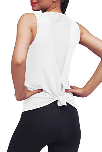 Mippo Womens Workout Tops Athletic Yoga Tops for Women Mesh Running Tank Tops Workout Tanks Tennis Shirts Gym Summer Clothes Activewear for Women White M