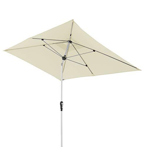 Doppler Aluminium Sonnenschirm SL-AZ 190x290 - Rechteckiger Sonnenschutz für Balkon/Terrasse - Knickbar - 190x290 cm - Natur