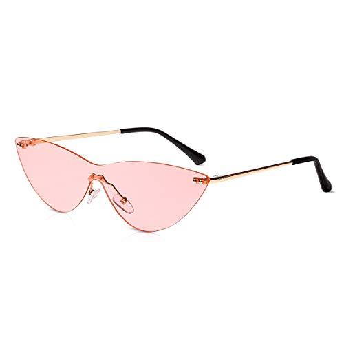 LumiSyne Gafas de sol para Mujer Ojos de gato Retro Gafas Lente Siamés Transparente Marco de Metal Sin Montura Moda Fiesta Vintage Gafas de Fiesta protección UV Caja de regalo(Rosa)