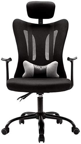 Silla de oficina ergonómica con soporte lumbar, silla de malla para escritorio de ordenador, silla de tareas con reposabrazos, reposacabezas ajustable