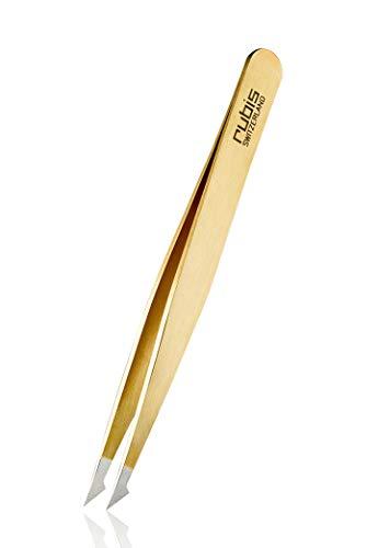 Rubis Evolution 2 en 1 – Pince à épiler pointue pour poils incarnés – Pince à épiler – Épilation des sourcils – Or