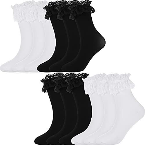 6 Pares Calcetines Tobilleros Opacos de Volante Ribete Encaje Vestir Elegantes