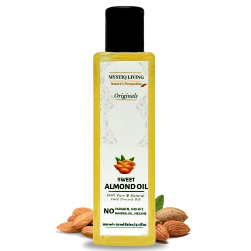 Mystiq Living Originals - Sweet Almond Oil - Badam Oil, 120ML | Rich in Vitamin - E | For Hair, Skin & Baby Massage | Cold Pressed, Pure and Natural (Odourless)