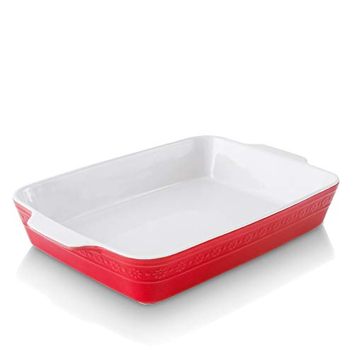 KOOV Individual Lasagne Pan Deep, Rectangular 9x13 Baking Dish, Ceramic Baking Dish, Bakeware for Tapas, Roasting, Casserole Dish for Oven, Daisy Series (Red)