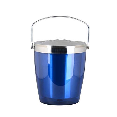 16LYP Eiskübel Edelstahl Doppelschalig Insulated mit Griffen Wein Eimer (Color : Blue, Size : 2.8L)
