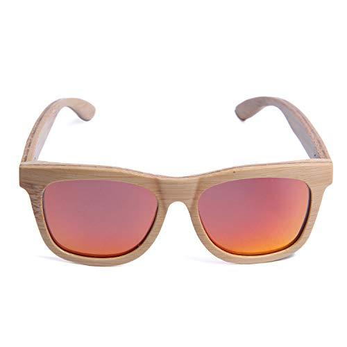 LUI SUI Retrò a mano in legno naturale di bambù occhiali da sole polarizzati a specchio in legno occhiali per uomo donna in viaggio