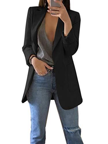 ORANDESIGNE Donna Manica Lunga Colletto Cappotto Elegante Ufficio Business Blazer Top Gilet Corto OL Carriera Tailleur Giacca A Nero IT 48