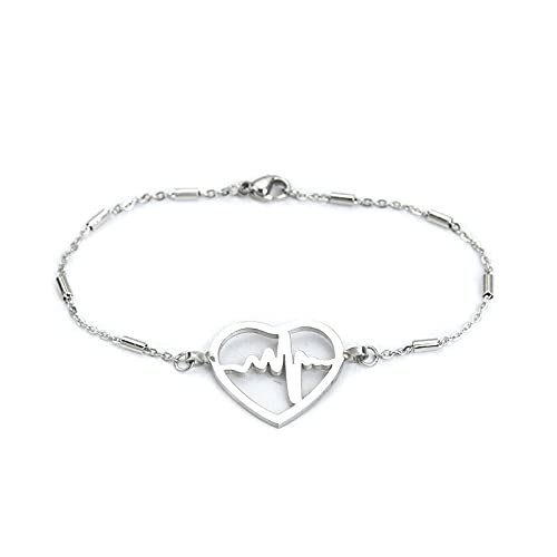 YFZCLYZAXET Jewellery Bracelets Bangle For Womens Fashionable Stainless Steel Heart-Shaped Trendy Simple Classic Jewelry Ladies Gifts-4
