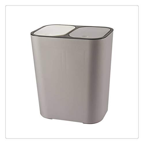 WNDRZ Cubo De Basura De Cocina Cubos Dobles Cubo De Basura Clasificación Cubo De Basura Seco-húmedo Separación De Basura Cubo De Basura Oficina Baño Cubo De Basura (Color : Gray)