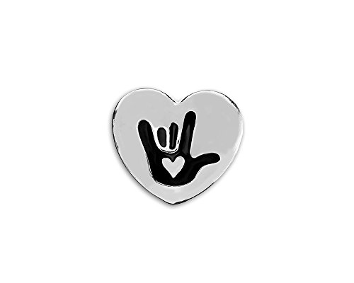 Fundraising For A Cause | 25 Pack Deaf Awareness Heart Pins - I Love You American Sign Language Symbol Lapel Pin for Deaf Awareness (25 Pins)