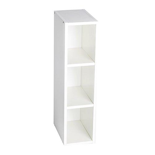 Puckdaddy Stauraumregal Moritz – 19x30x75 cm, Stand-Regal aus Holz in Weiß passend zu IKEA Malm Kommoden, Fächerregal für Wickelkommoden, Wickeltisch-Regal zur Kinderzimmer-Aufbewahrung