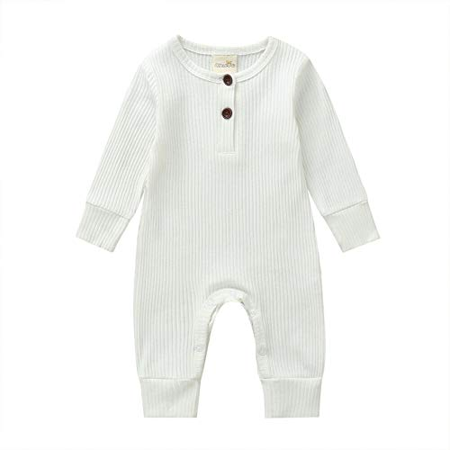 Baby Jungen Mädchen Kleidung Strick-Strampler Overall Bodysuit Einteiler Pyjama Gerippte Outfit Kleidung Gr. 56, weiß