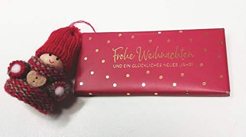 Unbekannt Geschenkset 99 : Weihnachtswichtel ca. 7 cm, Schokolade Frohe Weihnachten rot/weiß 40 g