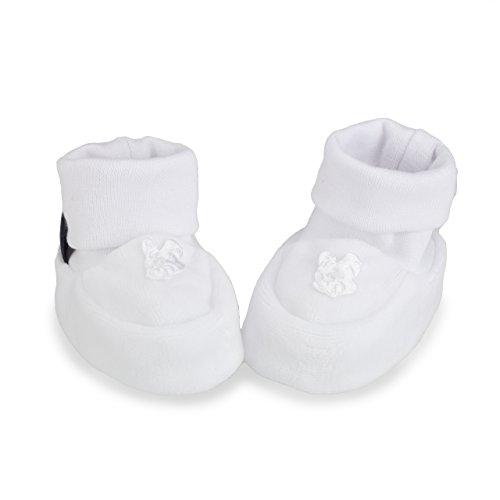 Pantau IT'S A SMALL WORLD Babyschuhe Erstlingsschuhe Taufschuhe Babysocken, mit Teddy, Weiß, Samt, Alter 0-3 Monate, 16 EU