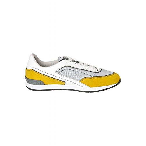 MOMODESIGN Scarpe Sneakers Basse Uomo CAMOSCIO Tessuto (43 EU, Giallo)