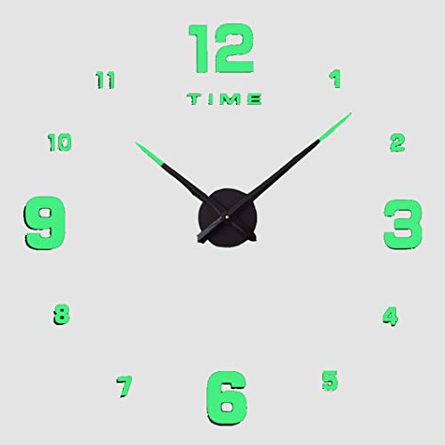 KANGLE-DERI Simple DIY Luminous 3D Digital Creative Wall Clock, Wall Stickers for Living Room Decoration, Silent Personality Luminous Decoration Clock for Kitchen and Bedroom,F