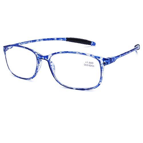DOOViC Blaulichtfilter Computer Lesebrille Blau Schildkröte/Eckig Rahmen Leichte Brille/Lesehilfe/Sehhilfe mit Stärke für Herren 1,5