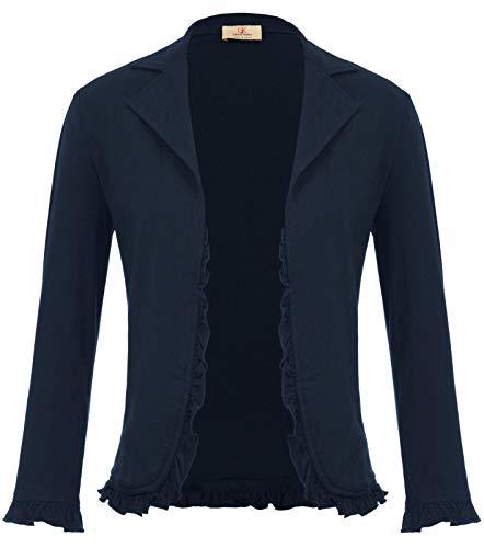 Women's 3/4 Sleeve Lightweight Office Suit Cardigan Open Front Blazer Navy XL