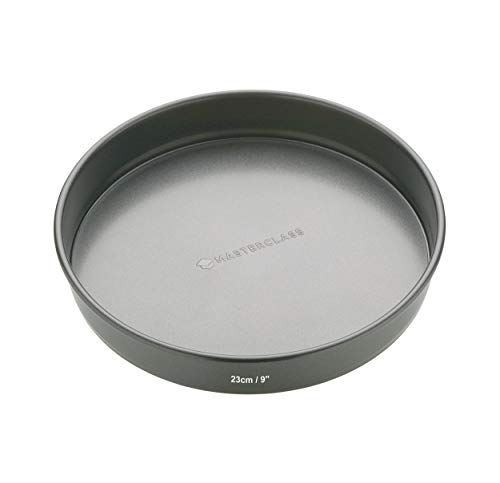 MasterClass KCMCHB27 23cm Loose Based Sandwich Tin with PFOA Free Non Stick, Robust 1mm Thick Carbon Steel, 9 Inch Round Cake Pan , Black