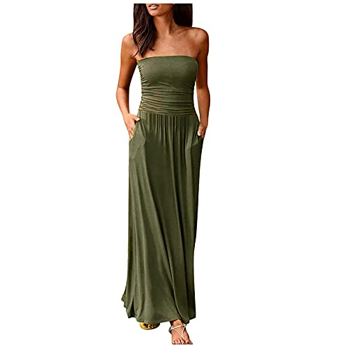 FQZWONG Women's Bandeau Dress Off Shoulder Long Dress Fashion Summer Solid Maxi Dress for Holiday Beach(B-Green,Medium)