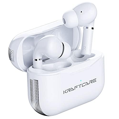 KRAFTCARE Cuffie Bluetooth 5.1, Auricolari Wireless In-Ear Bluetooth Cuffiette Bassi Migliorati 4 microfoni con Chiamate Stereo HD Auricolari IPX7 Impermeabili 30H Playtime con Controllo Touch