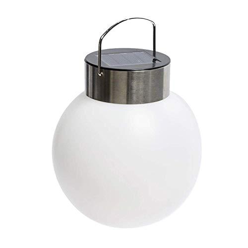 Pureday Solarleuchte Kugel - Gartenbeleuchtung zum Hängen - Kunststoff Edelstahl - Ø 13 cm - Weiß