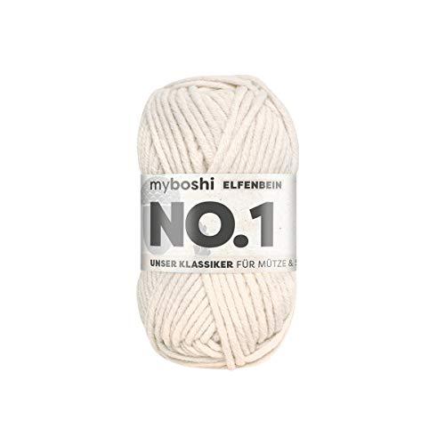 myboshi No.1-Wolle zum Häkeln und Stricken, mit Merinowolle, hochwertiges Schnellstrickgarn, Pflegeleichte, langlebige Mützenwolle, Mulesing-frei, 1 knl x 50gr, Ll 55m Elfenbein