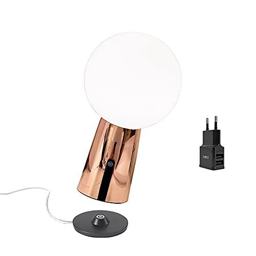 Zafferano Olimpia Pro Lámpara recargable de mesa de aluminio con cargador USB Aiino, LED regulable táctil, Protección IP54, 3000K, Uso Interior/Exterior, Base de carga de contacto, h26 cm - cobre