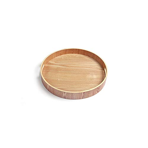 LERC Wooden Round Tray, Cheese Cake Tea Serving Dish Trays for Gastronomy & Household Also as a Food Pub Drinks Plate, with Handles