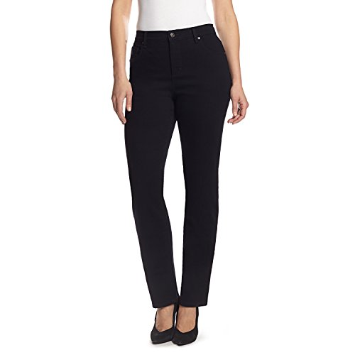 Gloria Vanderbilt womens Classic Amanda High Rise Tapered Jeans, Black, 14 US