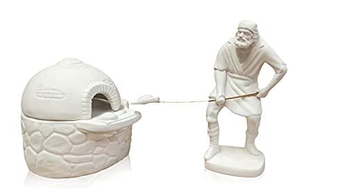 Figura escayola Panadero con Horno de Pan para belenes. Complemento Ideal Nacimiento de Navidad