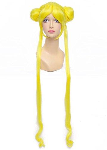 etruke Long bouclés Sailor Moon Anime Costume Jaune Cosplay Perruques