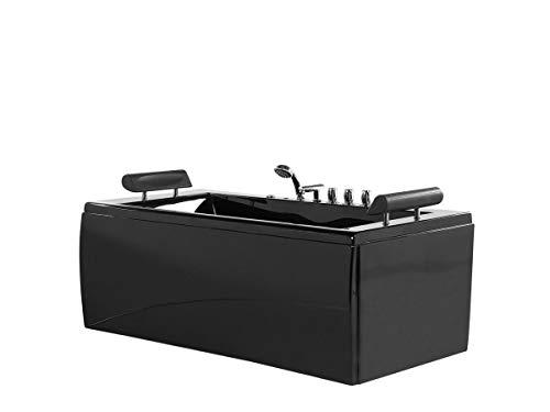 Supply24 since 2004 Whirlpool Badewanne Manhattan schwarz mit 14 Massage Düsen LED Armaturen freistehend an nur Einer Wand; Wanne Hot Tub Spa für Bad Badezimmer Innen